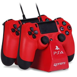 BASE DI RICARICA CONTROLLER DOPPIA 4GAMERS CON 2 CAVI PLAY & CHARGE ROSSA PS4
