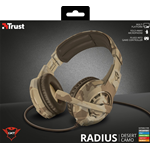 TRUST CUFFIE GAMING GXT310D RADIUS DESERT CAMO 22208 PC PS4 ONE SWITCH CELLULARE